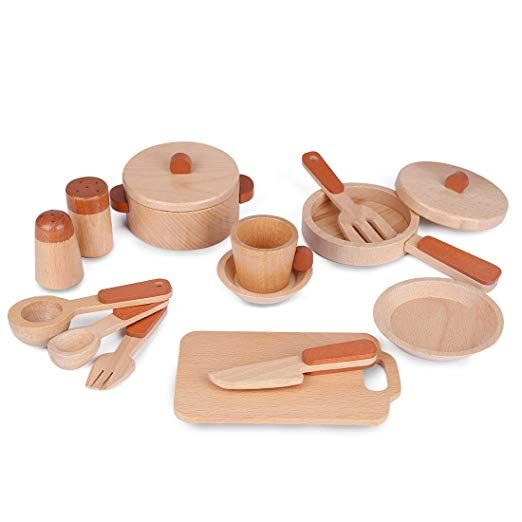 Exclead Kids Wooden Cooking Toy Set With Cookware And Serve