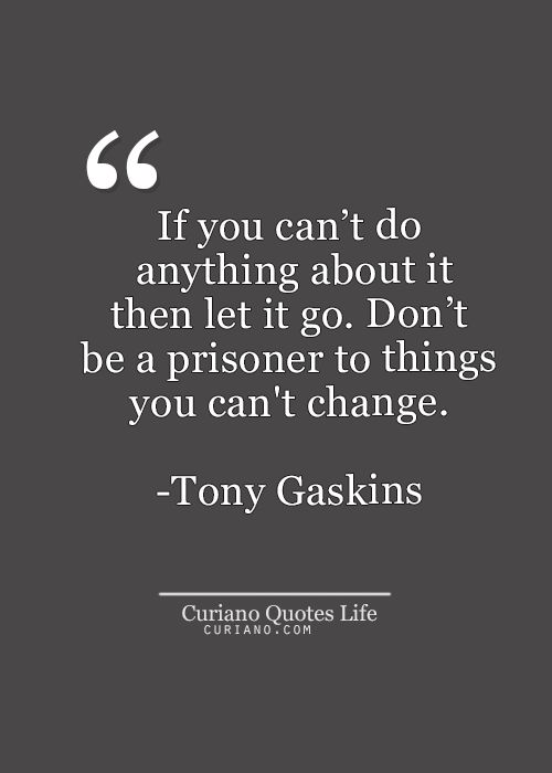 """""""If you can't do anything about it then let it go. Don't be a prisoner to things you can't change."""" -- Tony Gaskins"""