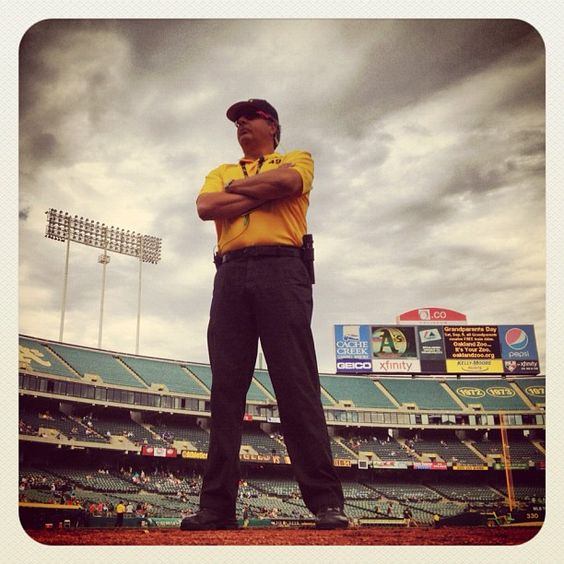 #Security guard Raymond guards the #Angels #dugout before today's game against the A's in #Oakland. (By Brad Mangin / SI) #MLB