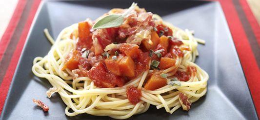 Delhaize - Spaghettis au potiron et à la pancetta + faits avec jambon de parme à la place pancetta - très bon