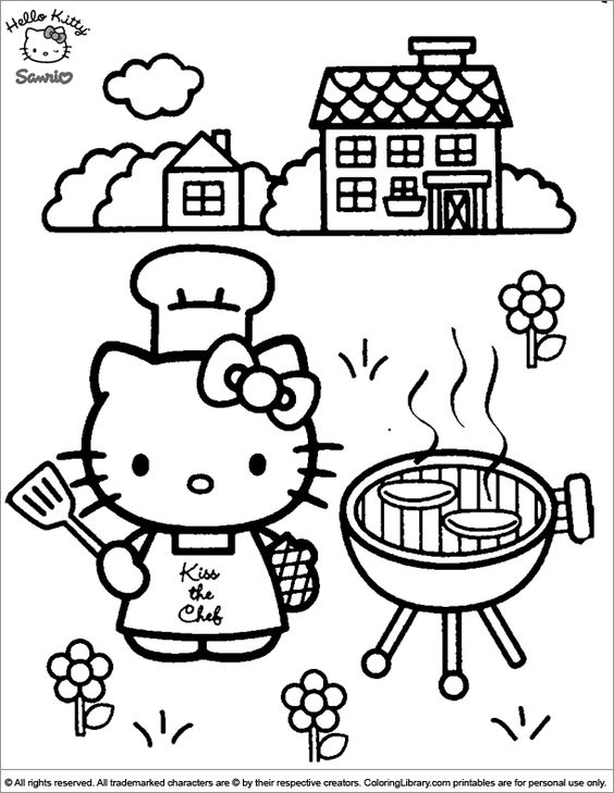 Hello Kitty Coloring Sheet Kitty Is Having Fun On The Grill Hello Kitty Colouring Pages Kitty Coloring Hello Kitty Coloring