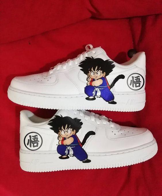 Dragon Ball Son Goku Custom Nike Air Force One Custom Sneakers Custom Shoes Custom Nike Custom Nike Air Shoes Custom Nike Shoes Personalized Shoes