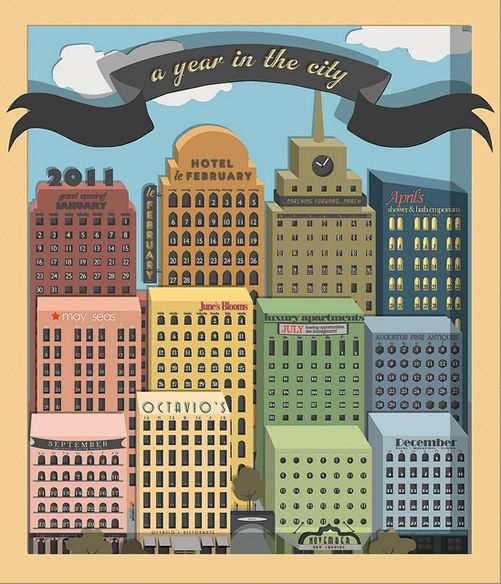 Calendar design  visually lovely Pinterest Cities, Calendar