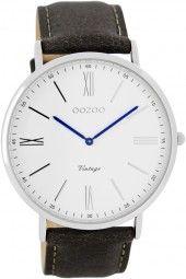 Oozoo Ultra Slim Vintage Herrenuhr C7702 - grau/weiss - 44 mm - Lederband