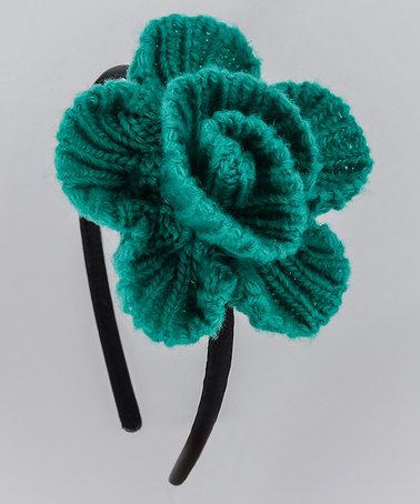 Take a look at this Little Green Knit Flower Hairband by Etsi on #zulily today!