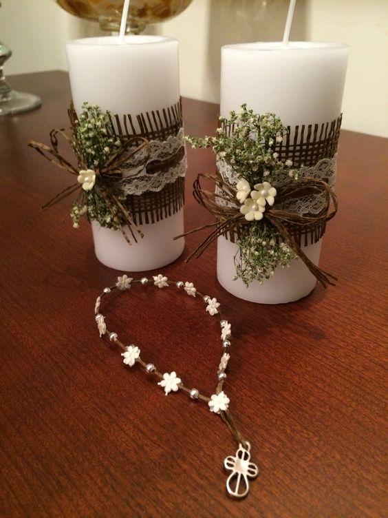 Velas para primera comuni n bautismo souvenirs pinterest - Como decorar una comunion ...