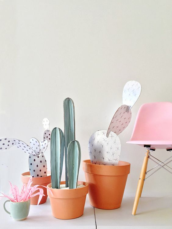 DIY cardboard cacti: