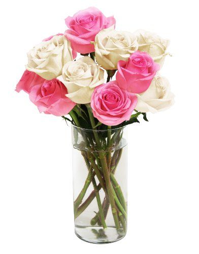 Bouquet of Long Stemmed Pink and White Roses (Dozen) - With Vase - http://flowersnhoney.com/bouquet-of-long-stemmed-pink-and-white-roses-dozen-with-vase/: