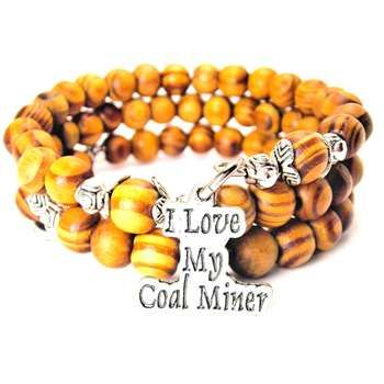 NATURAL WOOD WRAP BANGLE I LOVE MY COAL MINER BRACELET - See more at: http://www.chubbychicocharms.com #Worker #HandMade #Pewter