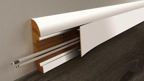 Skirting MDF baseboard to hide wiring cables