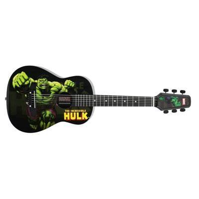 Hulk themed acoustic guitar for kids.