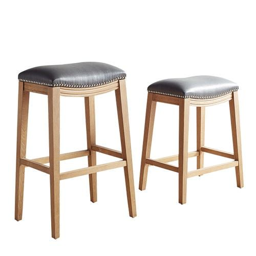 Halsted Pewter Backless Counter Bar Stool With Natural Stonewash Wood Bar Stools Counter Bar Stools