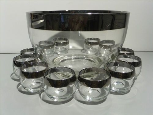 Vintage Dorothy Thorpe Punch Bowl & 12 Roly Poly Glasses, Silver Band