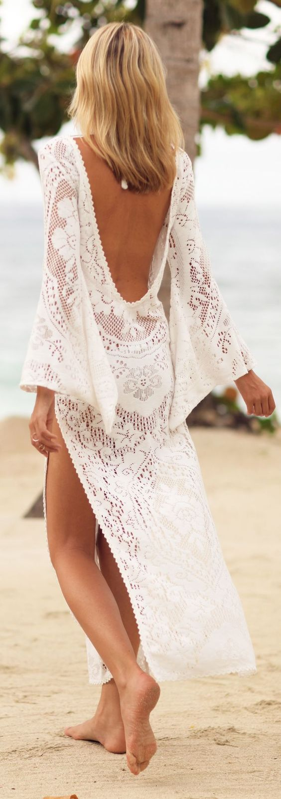 White Crochet Backless Maxi Cover Up:
