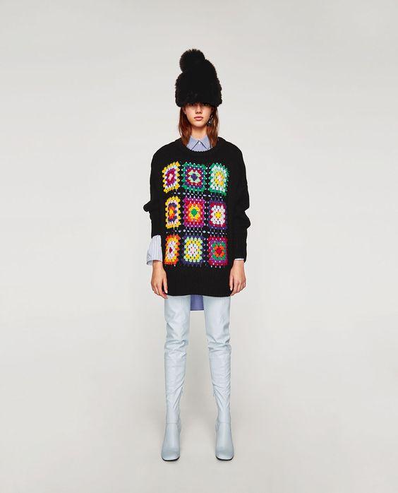 Afbeelding 1 van OVERSIZED CROCHET TRUI van Zara