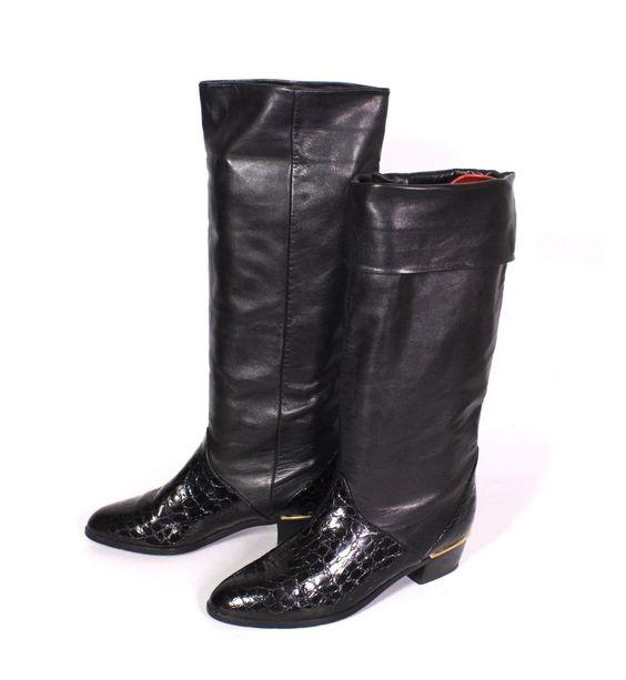 6S Kennel & Schmenger Damen Stiefel Leder schwarz Gr. 39 (6) Vintage Lack…
