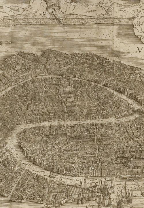 Jacopo DeBarbari Detail From View Of Venice Map - Map of venice 1500