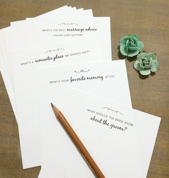 Wedding Question And Advice Cards For Guests