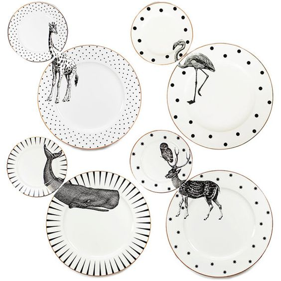 A set of 4 unique matching dinner and side plates with quirky Animal illustrations and gilt gold detailing.  Created by Yvonne Ellen, this fun and