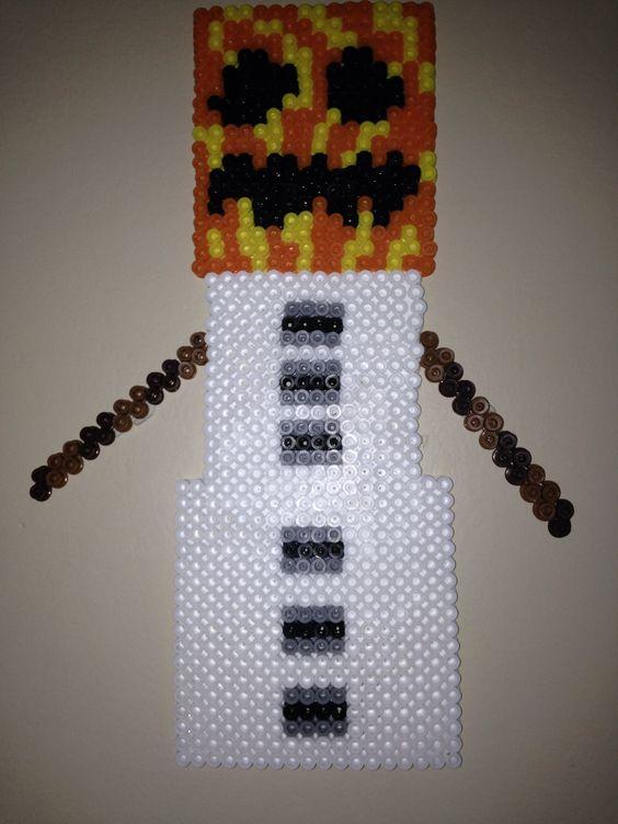 Snow Golem Minecraft Perler Bead My Boy Pinterest