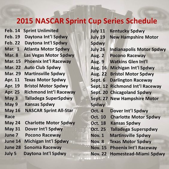 2015 sprint cup schedule jayski