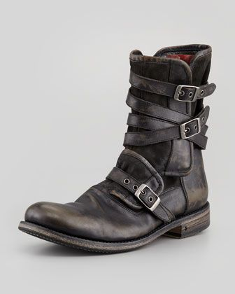 Multi-Strap Buckle Boot, Charcoal by John Varvatos | ~Mens ...