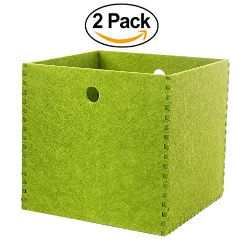 Toy Storage Ideas Storage Baskets 12x12 Felt Cubes Bins For Shelves Hard Polyester Green 2 Pack Office Home Decor Toy Storage Storage Baskets Storage