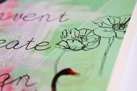 Green Swan Print