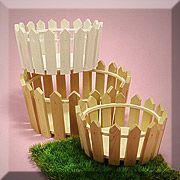 "Round Wood Picket Fence Baskets 7""-11"" Set"