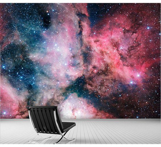 Frete grátis 3D espaço estrelas universo nebulosa sala sofá TV parede mural papel de parede papel de parede