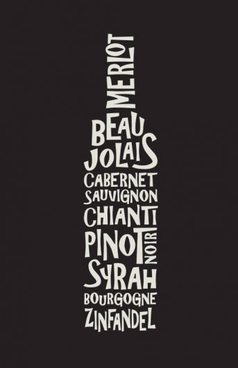 Wine art - hip graphic poster, sure to be spotted soon at a dimly-lit restaurant near you.