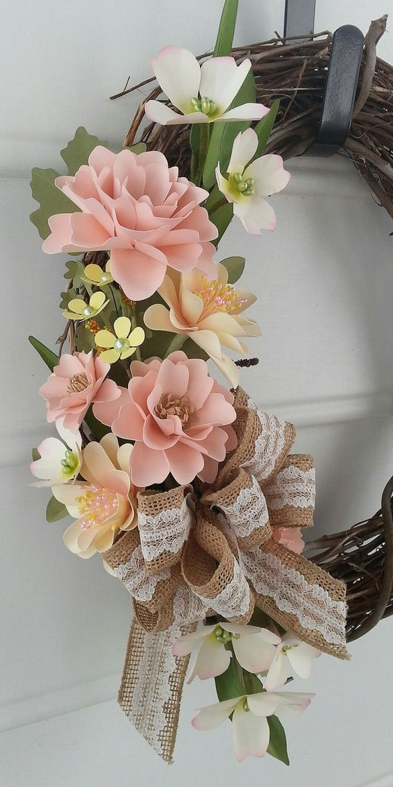 Shabby chic wreath with my beautiful paper flowers! Love this!