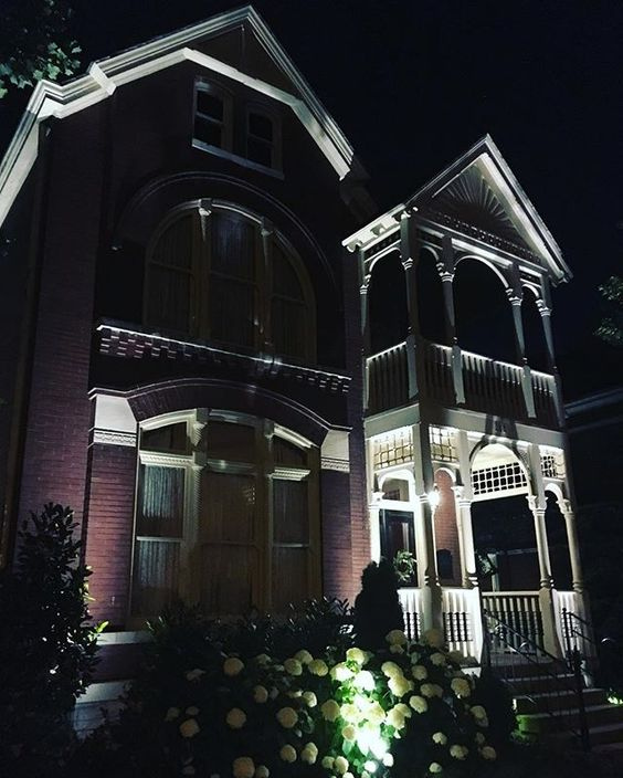 Passed this beautiful home on my evening stroll. (On Russell) Wandered down to the river -- saw the people on the pedestrian bridge taking in the Rascal Flatts show at the stadium for free. Why not? You can see the big screens from there, and you won't get your ears blasted out! #nashville