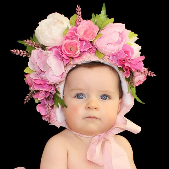 Newborn Photography Props Boys Girls Floral Sitter Hat Baby Photo Props Flowers Bonnet