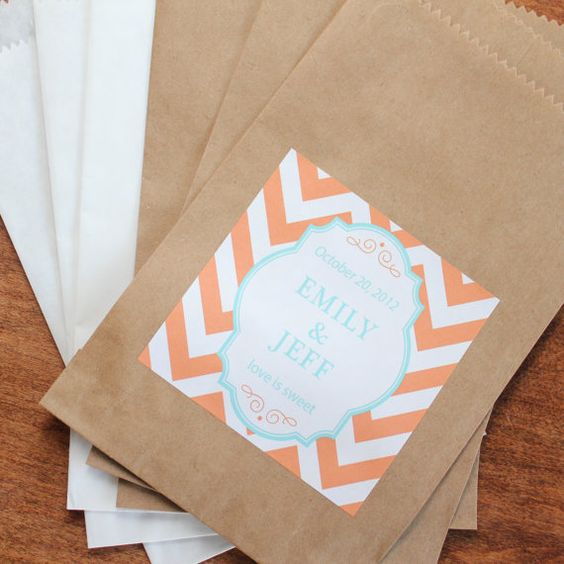 24 Wedding Favor Bags with Personalized Chevron Labels - ANY COLOR - candy buffet bags, wedding favors, bridal shower favors on Etsy, $22.80