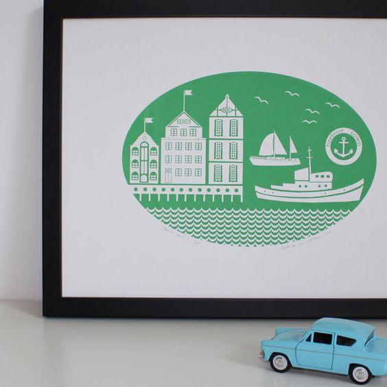 SALE Harbour Town silkscreen print in jade green