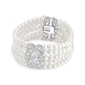 Multi Strand Great Gatsby Inspired Bridal Glass Pearl Bracelet