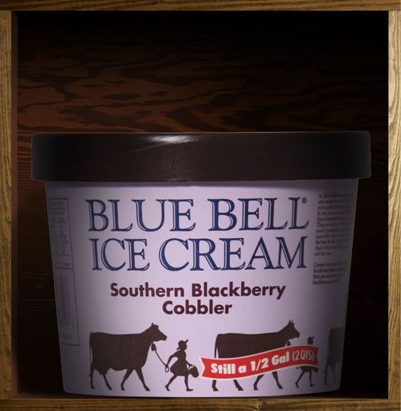 Southern Blackberry Cobbler - Creamy ice cream with a luscious blackberry flavor combined with flaky pie crust pieces and a blackberry sauce swirl. (It's sooo good!!) ;)