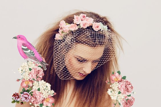 PEAR/ floral crown with birdcage veil. $73,00, via @Etsy.