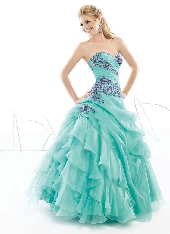 Buy 2013 Appealing Exquisite Absorbing Sweetheart Neckline Applique Ruffle Tiered Blue Organza Floor Length Prom Dress HOT SALE! Online Cheap Prices