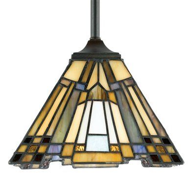 Inglenook rod hung mini pendant. A classic geometric Arts & Crafts piece with handcrafted art glass in shades of sapphire blue, warm honey, amber and cream. Arts and Crafts is an enduring style that honors the tradition of fine craftsmanship and attention to detail. This piece is a great way to light up a kitchen island or a pool table with style.     Glass count: 208