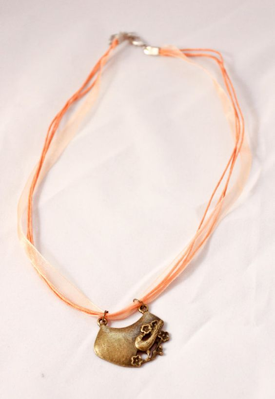 Bronze Song Bird Necklace Peach by CandyBuckinghams on Etsy, $5.00