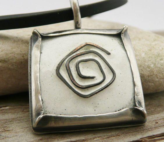 Pendant Square Swirl White enamel on copper Sterling by LjBjewelry, $70.00