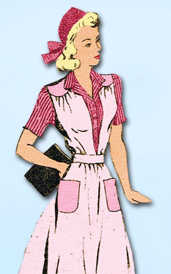 1940s Vintage Mail Order Sewing Pattern 2588 Misses WWII Jumper Dress Sz 14 32B #MailOrder #WWIIJumperandBlouse