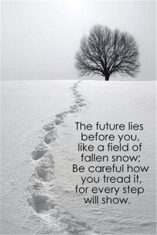 """The future lies before you, like a field of fallen snow; be careful how you tread it, for every step will show."":"