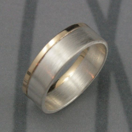 Modern+Two+Tone+Wedding+BandSolid+14K+Yellow+Gold+and+by+debblazer,+$180.00