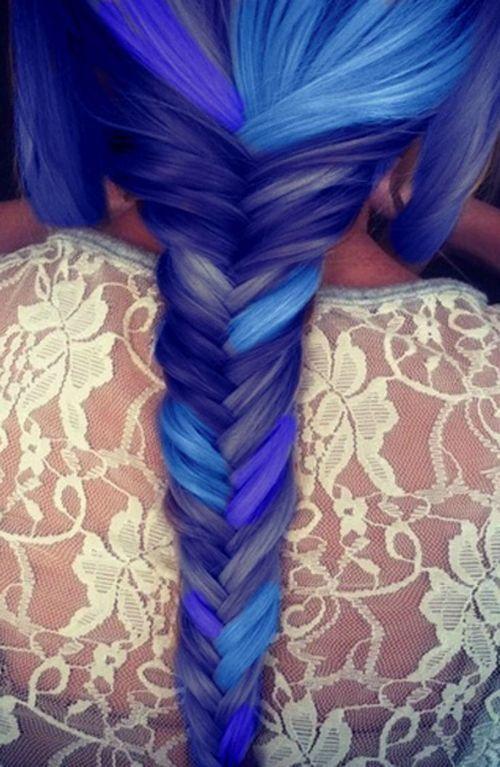 Blue fishtail braid