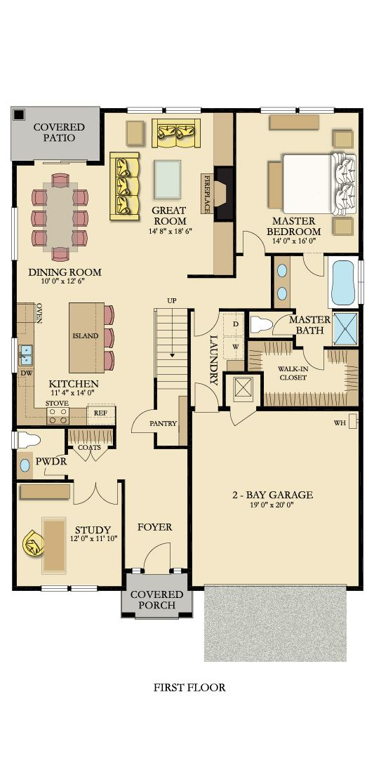 The Floorplan For The Mulberry Lower Level Includes A Two Car Garage Study And Powder Room For Guests A Great Room With Floor Plans Model Homes Great Rooms