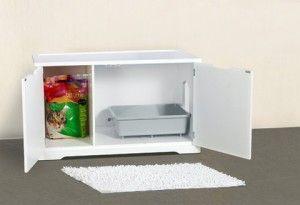 bandeja de arena para gatos oculta en un banco aparador compartimentos