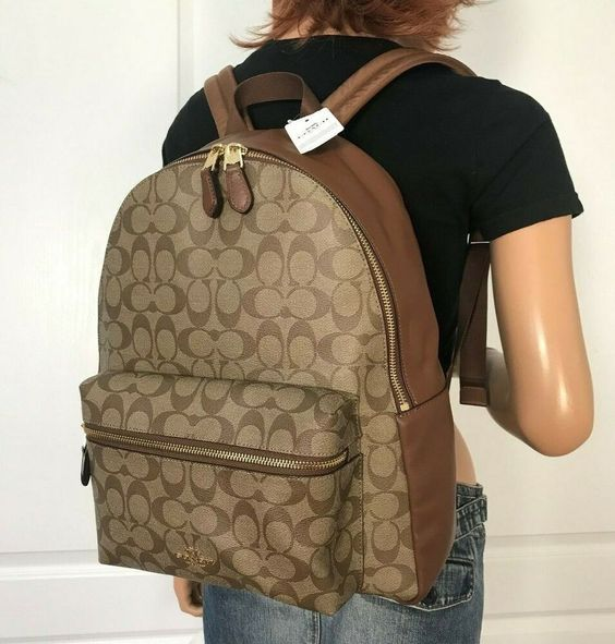 NWT Coach Signature PVC Backpack Book Bag School  Authentic Khaki Saddle $395 #Coach #Backpack